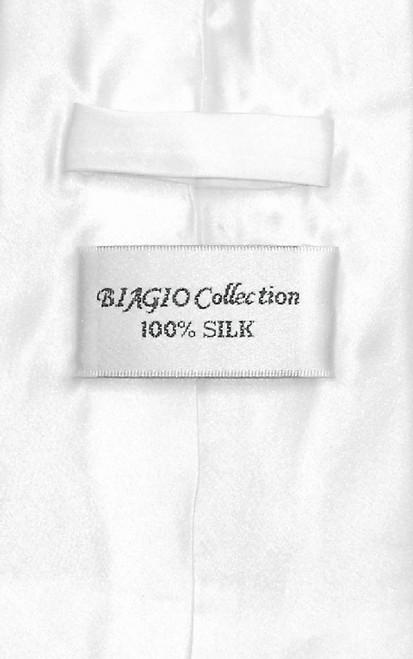 Biagio 100% Silk Solid White Color NeckTie & Hanky Mens Neck Tie Set