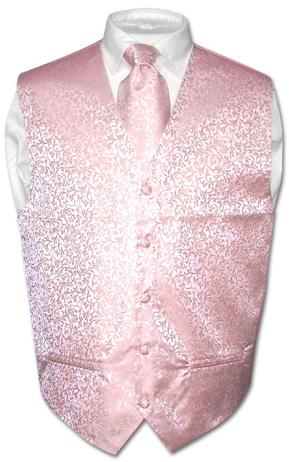 Antonio Ricci Mens Paisley Dress Vest NeckTie Pink Neck Tie Set sz 3XL