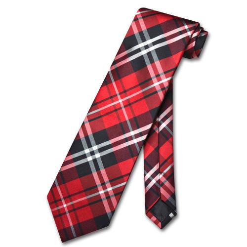 Vesuvio Napoli NeckTie Black Red White Plaid Design Mens Neck Tie