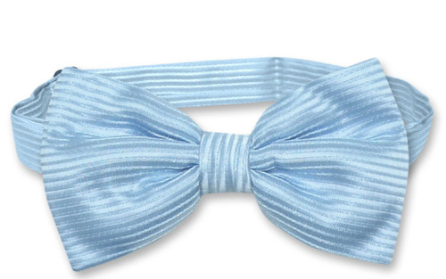 Vesuvio Napoli BowTie Baby Blue Color Horizontal Striped Mens Bow Tie