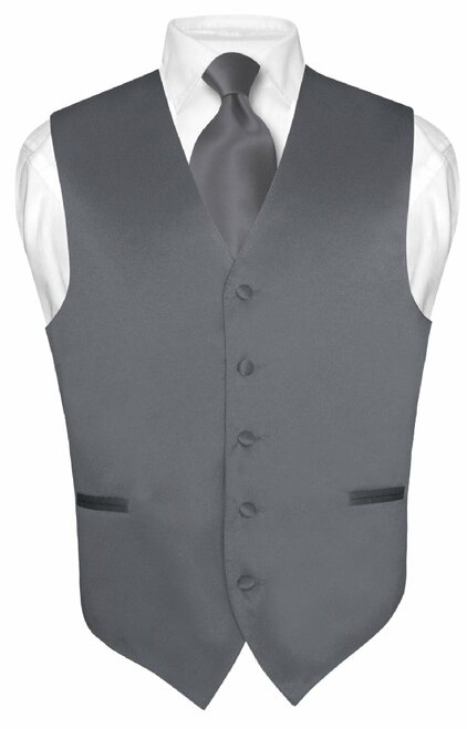 Grey Vest And Grey Tie Set | Gray Vest And Neck Tie Set