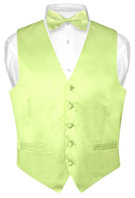 Lime Green Vest and Bow Tie | Silk Solid Color Vest BowTie Set
