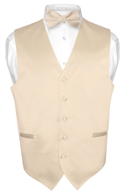 Light Brown Tie And Light Brown Vest Set   Vest And Bow Tie Set