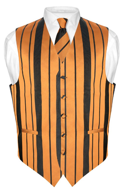 Mens Dress Vest NeckTie Gold & Black Color Woven Striped Neck Tie Set