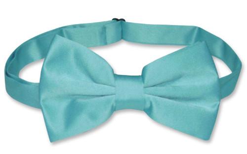 Mens Dress Vest & BowTie Solid Turquoise Aqua Blue Color Bow Tie Set