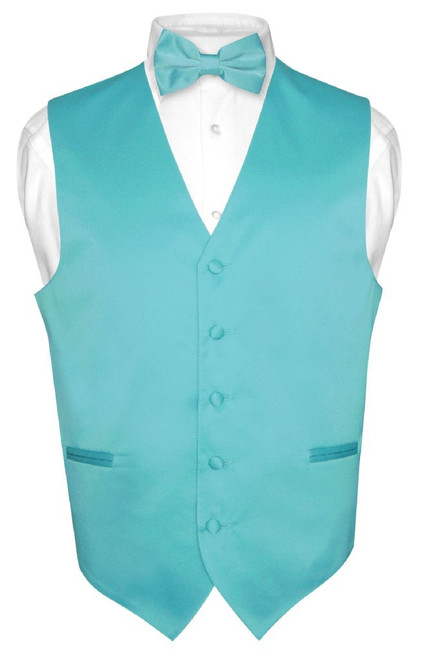 Mens Dress Vest & BowTie Solid Turquoise Aqua Blue Color Bow Tie Set