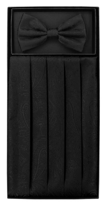 Cumberbund BowTie Solid Black Paisley Mens Cummerbund Bow Tie Set