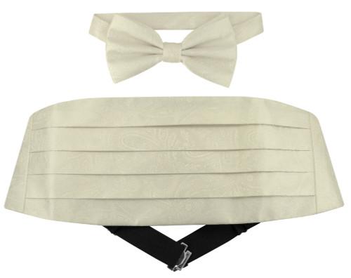 Cumberbund BowTie Solid Off-White Paisley Mens Cummerbund Bow Tie Set