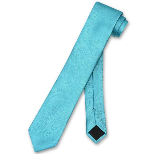 Turquoise Necktie | Mens Narrow Turquoise Blue Necktie
