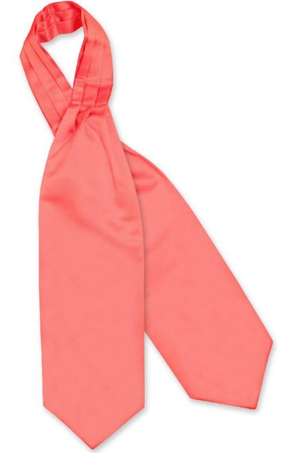 Coral Pink Cravat Tie   Vesuvio Napoli Mens Solid Color Ascot Cravat