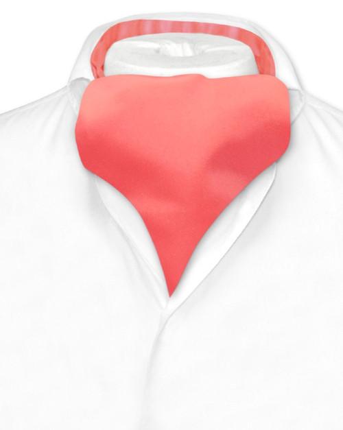 Coral Pink Cravat Tie | Vesuvio Napoli Mens Solid Color Ascot Cravat