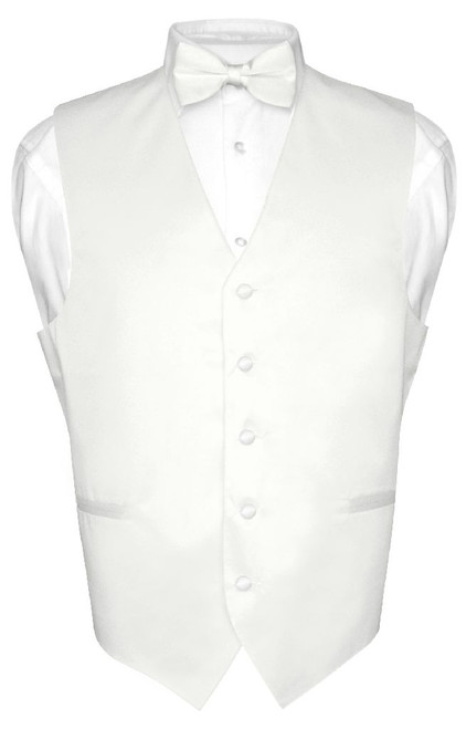 Mens Dress Vest & BowTie Solid White Color Bow Tie Set