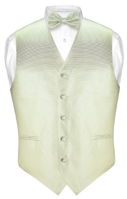 Mens Dress Vest BowTie Sage Green Woven Bow Tie Horizontal Stripe Set