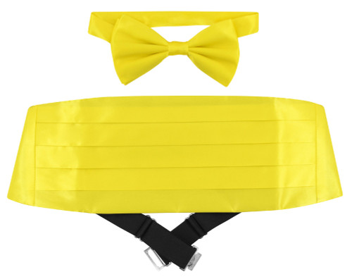 Silk Cumberbund BowTie Golden Yellow Color Mens Cummerbund Bow Tie Set