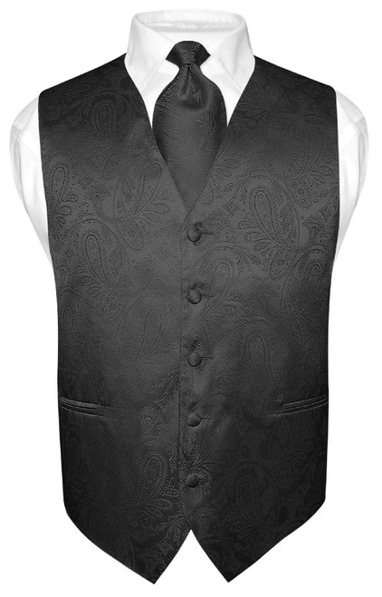 Black Paisley Tie And Black Paisley Tuxedo Vest Set For Men