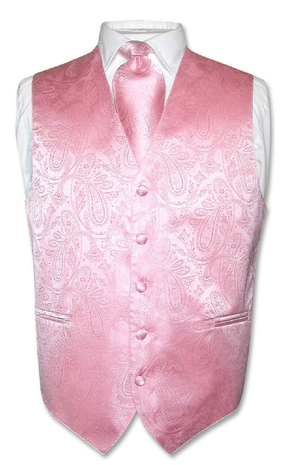 Mens Paisley Design Dress Vest & NeckTie Pink Color Neck Tie Set
