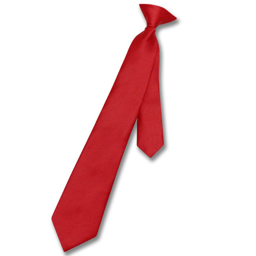 Vesuvio Napoli Boys Clip-On NeckTie Solid Red Youth Neck Tie