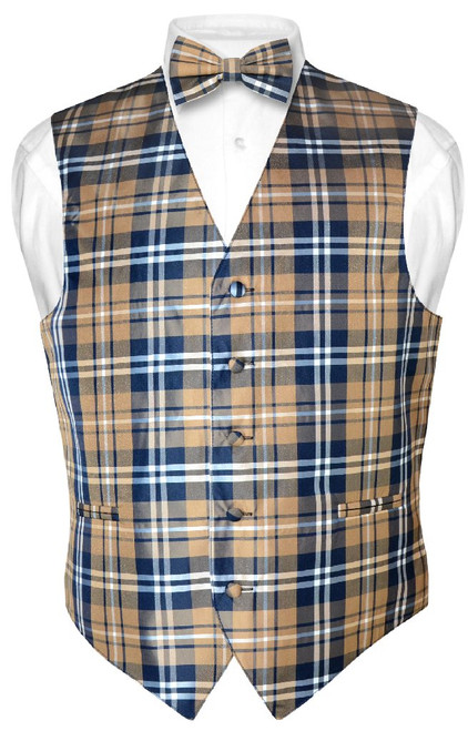 Mens Plaid Design Dress Vest & BowTie Navy Brown White Bow Tie Set