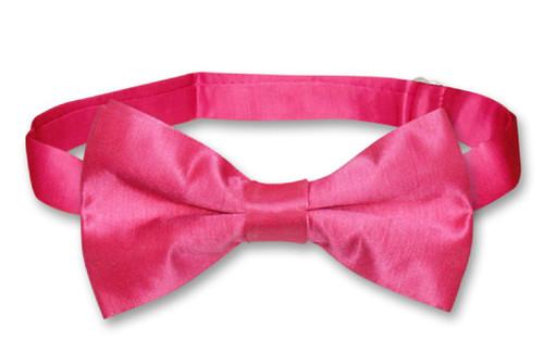 Biagio Mens Solid Hot Pink Fuchsia Bamboo Silk Dress Vest Bow Tie Set