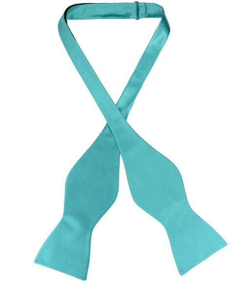 Biagio Self Tie Bow Tie Solid Turquoise Aqua Blue Color Mens BowTie