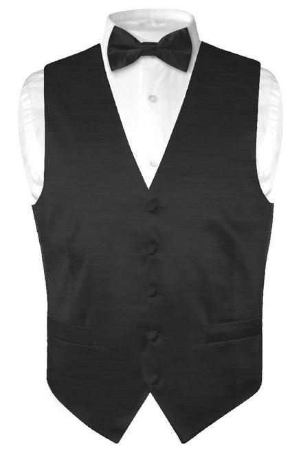 Biagio Mens Solid Black Bamboo Silk Dress Vest Bow Tie Set