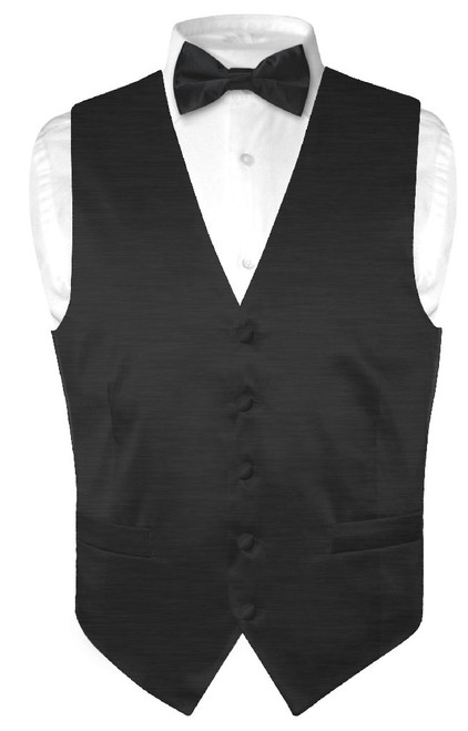 Biagio Mens Solid Black Bamboo Silk Dress Vest Bow Tie Set