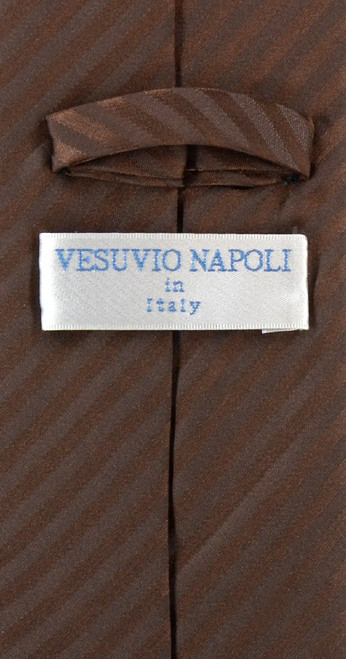 Vesuvio Napoli Chocolate Brown Striped NeckTie & Handkerchief Neck Tie