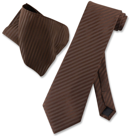 Vesuvio Napoli Chocolate Brown Striped NeckTie & Handkerchief Neck Tie