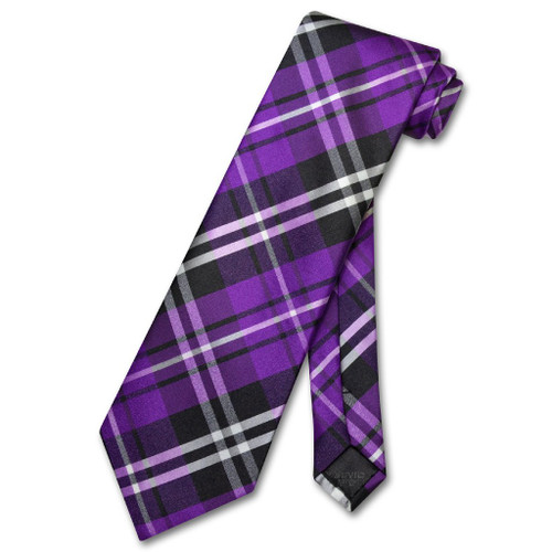 Vesuvio Napoli NeckTie Purple Black White Plaid Design Mens Neck Tie