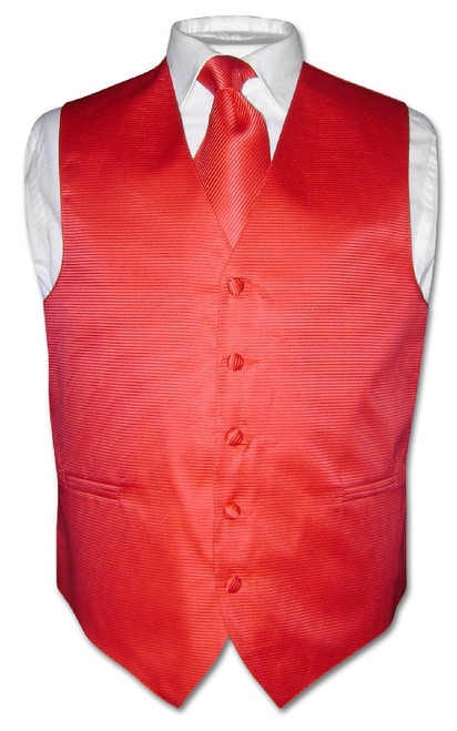 Mens Dress Vest NeckTie Red Horizontal Stripe Neck Tie Design Set