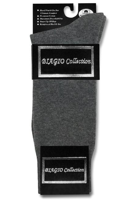 Charcoal Dress Socks | 1 Pair of Biagio Mens Cotton Dress Socks