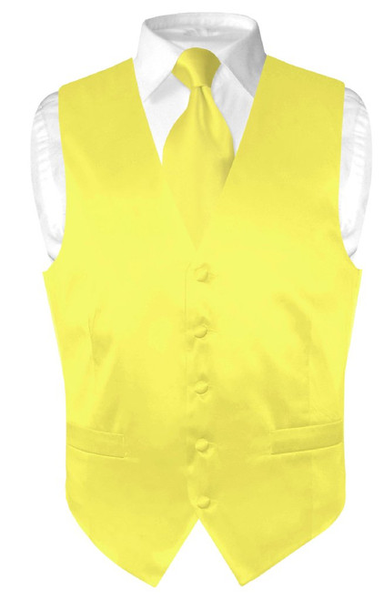 Yellow Vest | Yellow NeckTie | Silk Solid Color Vest Neck Tie Set