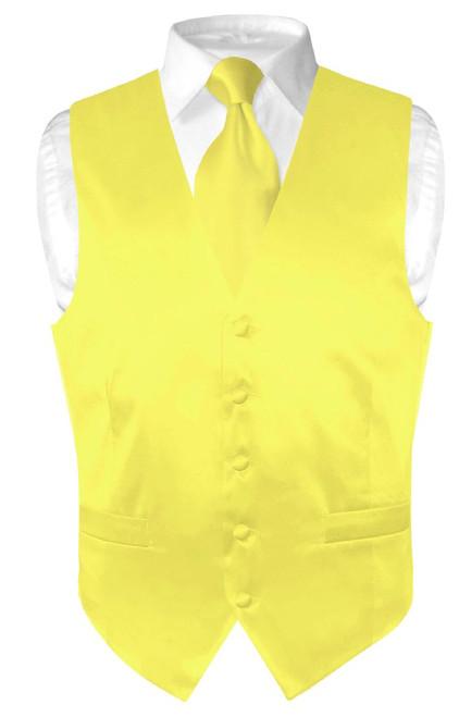 Biagio Mens Silk Dress Vest & NeckTie Solid Yellow Color Neck Tie Set