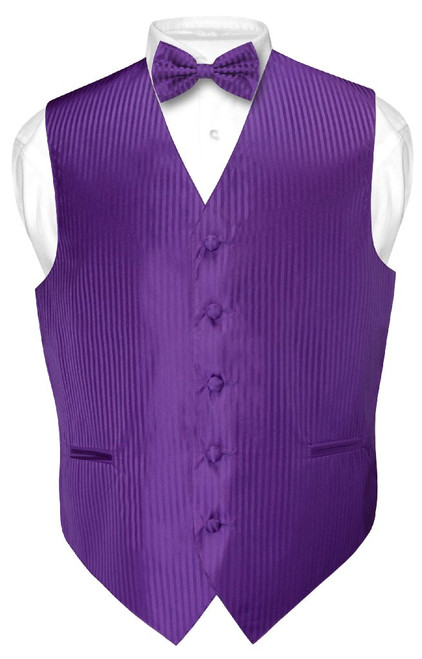 Mens Dress Vest BowTie Purple Color Vertical Striped Bow Tie Set