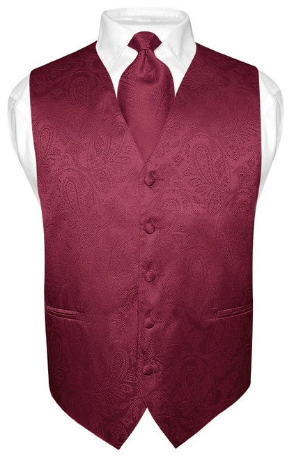 Mens Paisley Design Dress Vest & NeckTie Burgundy Color Neck Tie Set