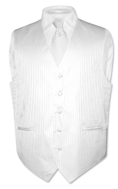 Mens Dress Vest & NeckTie White Color Vertical Striped Neck Tie Set