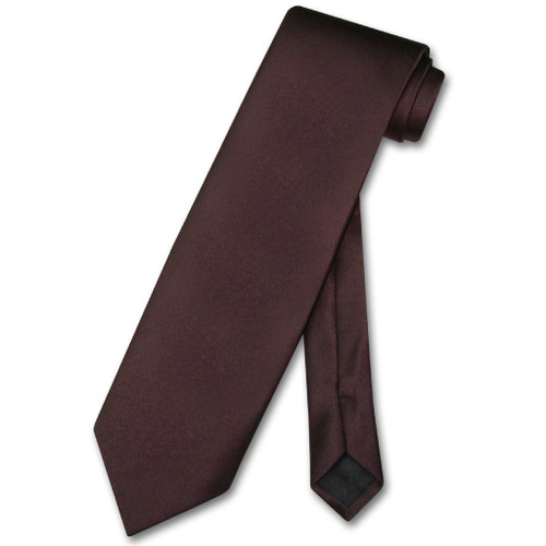 Chocolate Brown Mens NeckTie | Vesuvio Napoli Solid Color Neck Tie