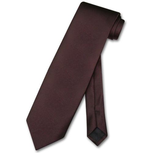 Chocolate Brown Mens NeckTie | Vesuvio Napoli Solid Color Neck Tie
