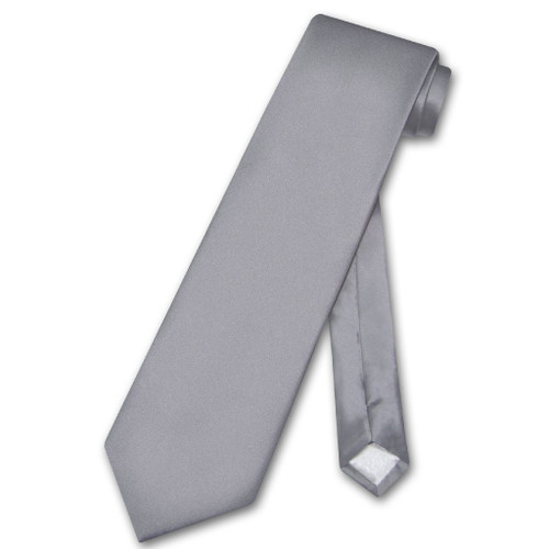 Biagio 100% Silk NeckTie Extra Long Solid Charcoal Grey Mens XL Tie
