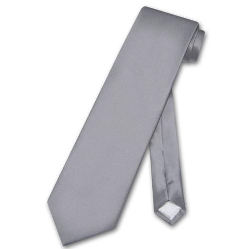 Biagio 100% Silk NeckTie Extra Long Solid Charcoal Grey Mens XL Tie