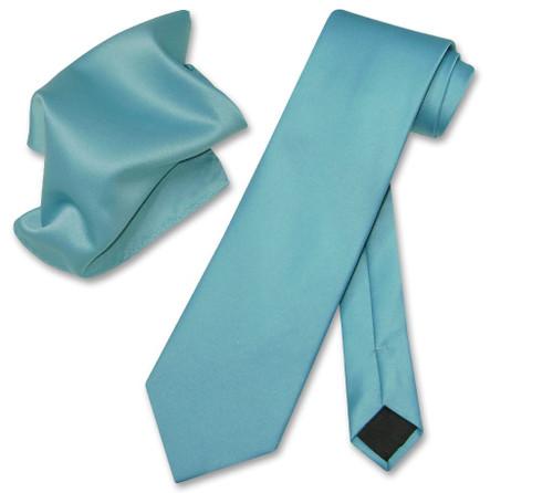 Vesuvio Napoli Solid Turquoise Blue NeckTie Hanky Mens Neck Tie Set