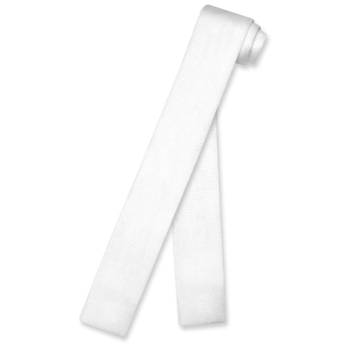 White Color Knit Neck Tie | Biagio Solid Color Knitted Mens NeckTie