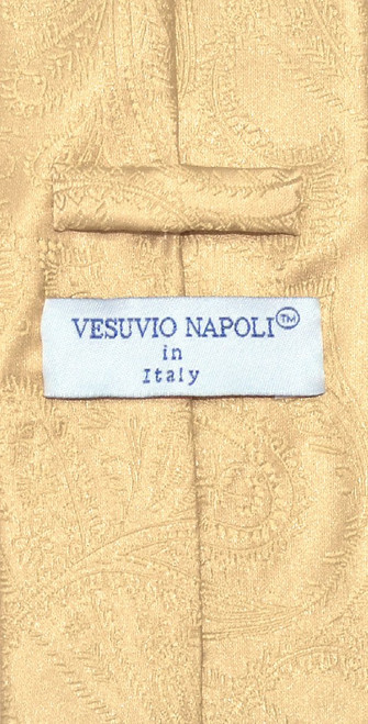 Vesuvio Napoli NeckTie Gold Color Paisley Design Mens Neck Tie