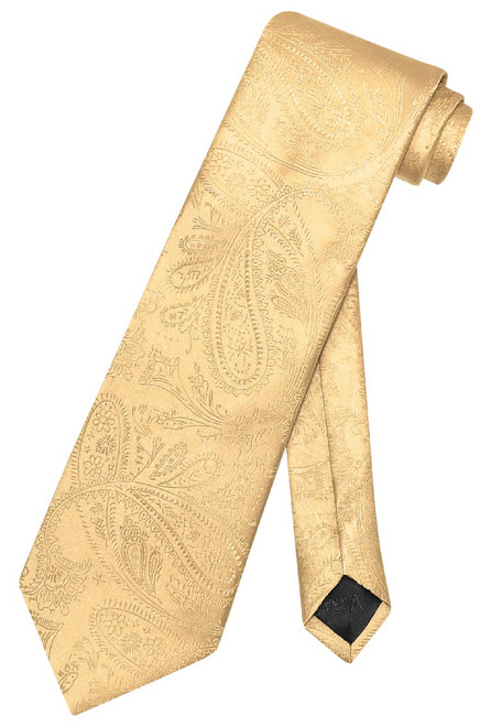 Vesuvio Napoli NeckTie Gold Color Paisley Design Mens Neck Tie