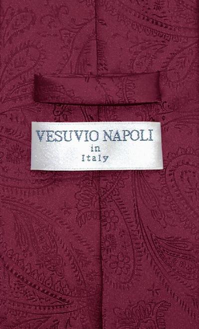 Vesuvio Napoli NeckTie Burgundy Color Paisley Design Mens Neck Tie