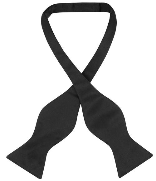 Vesuvio Napoli Self Tie Bow Tie Solid Black Color Mens BowTie