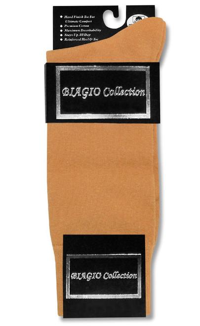 Solid Gold Color Mens Socks | 6 Pair of Biagio Cotton Dress Socks