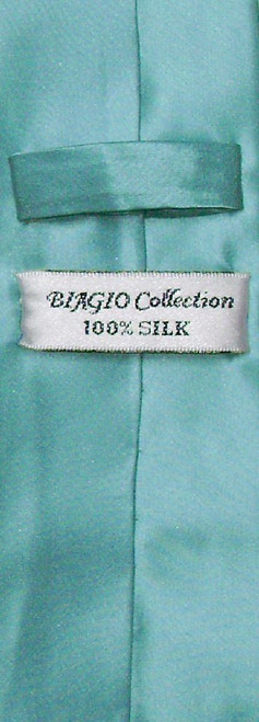 Biagio 100% Silk Narrow NeckTie Skinny Turquoise Blue Mens Neck Tie
