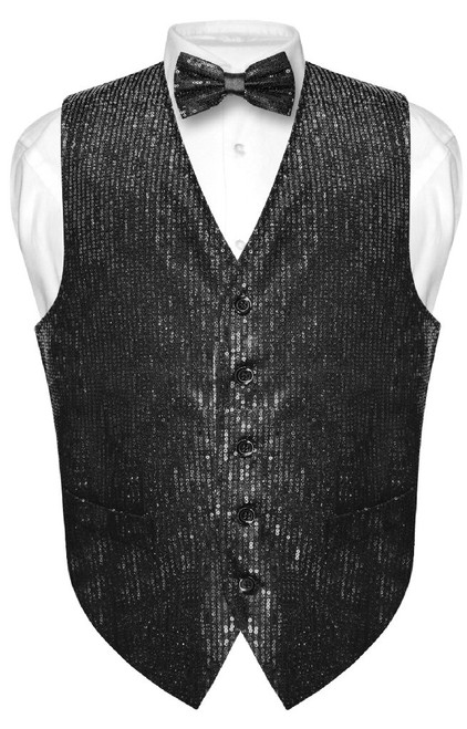 Mens SEQUIN Design Dress Vest & Bow Tie Black Color BowTie Set