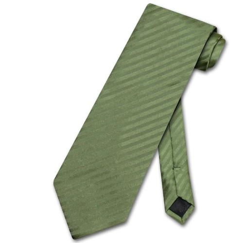 Vesuvio Napoli NeckTie Olive Green Stripe Vertical Stripe Mens Tie